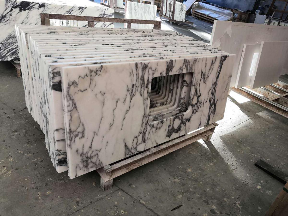 Italian Arabescato White Marble Countertops