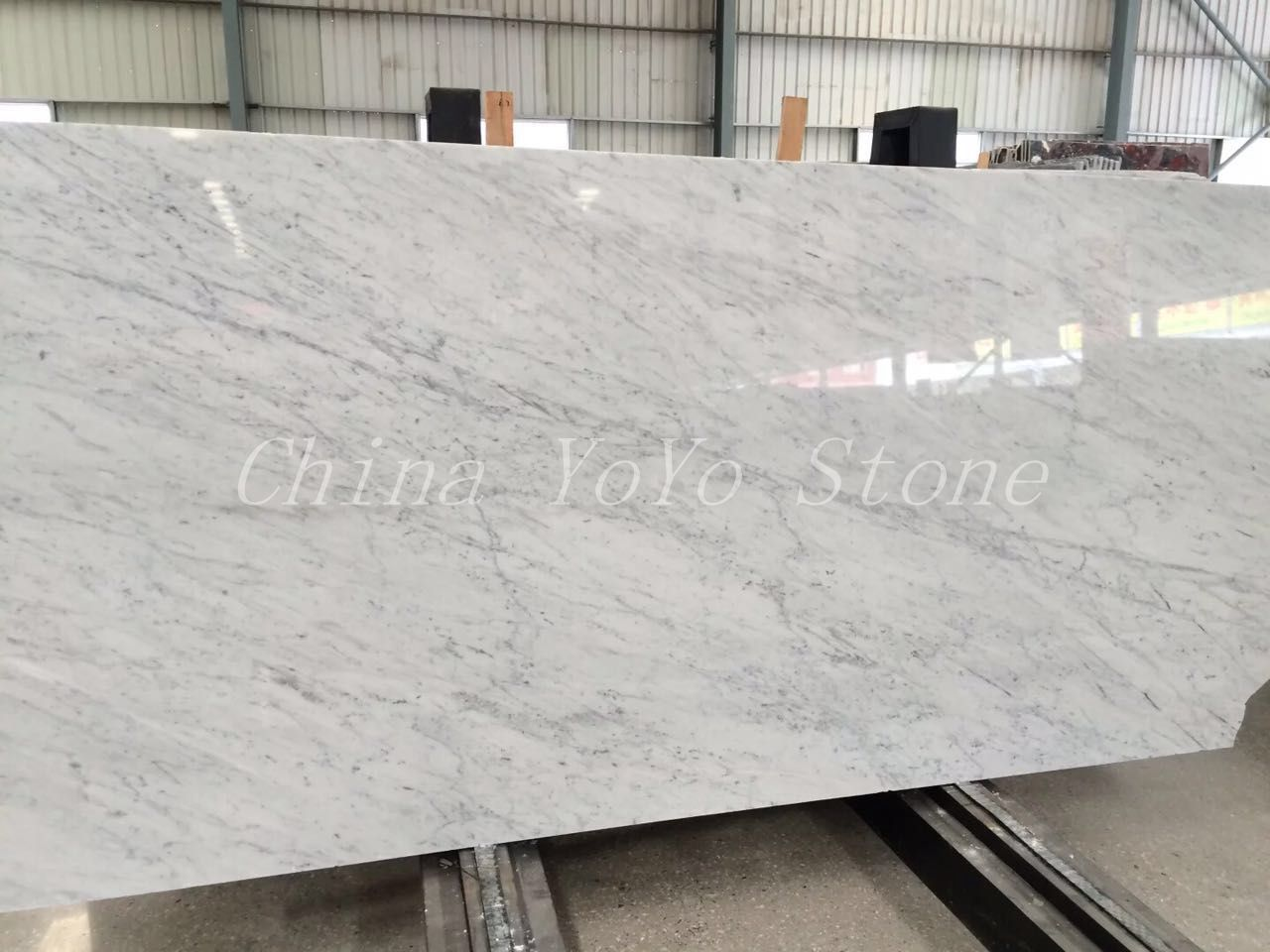 Italian Bianco Carrara White Polished Marble Slab