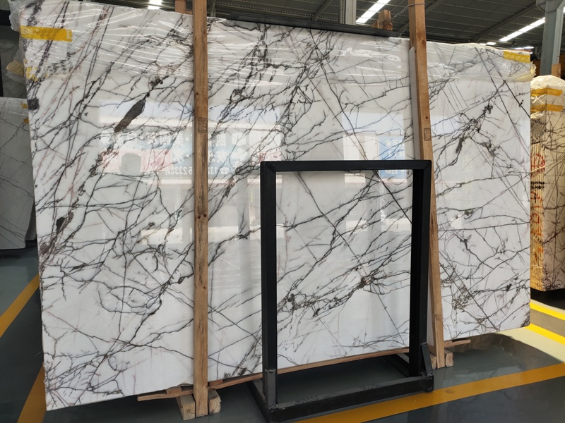 Italy Opus White Marble Slabs Super White Marble With Black Veins