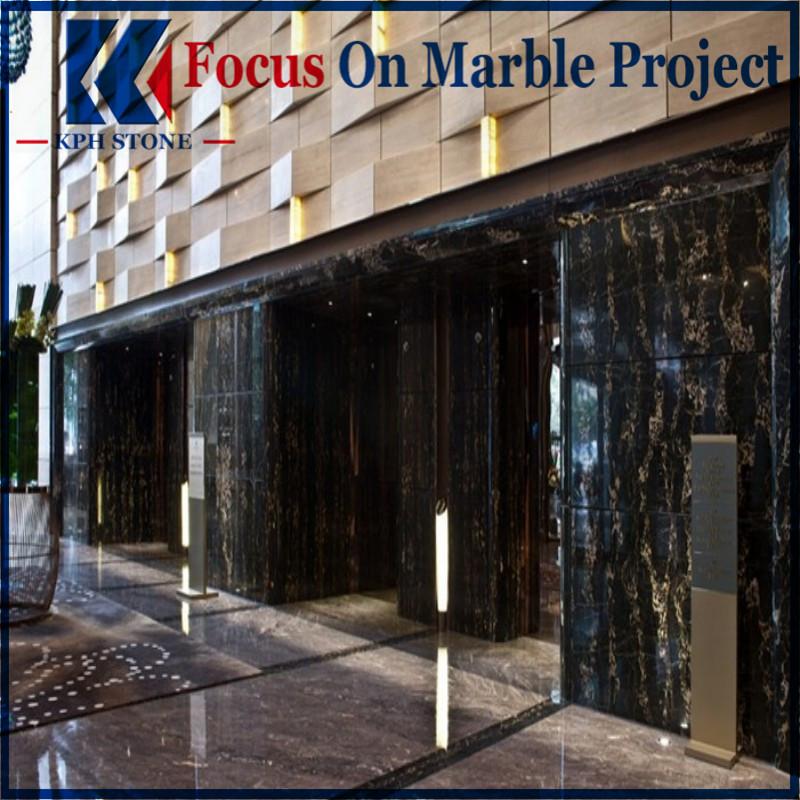 Black Gold Flower Marble Wall Design