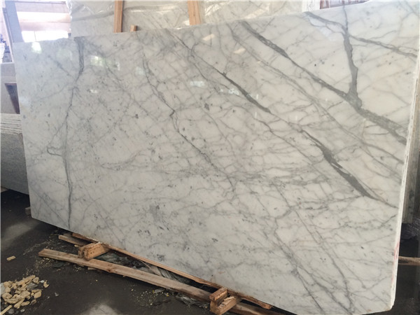 white Blanco Carrara marble slab