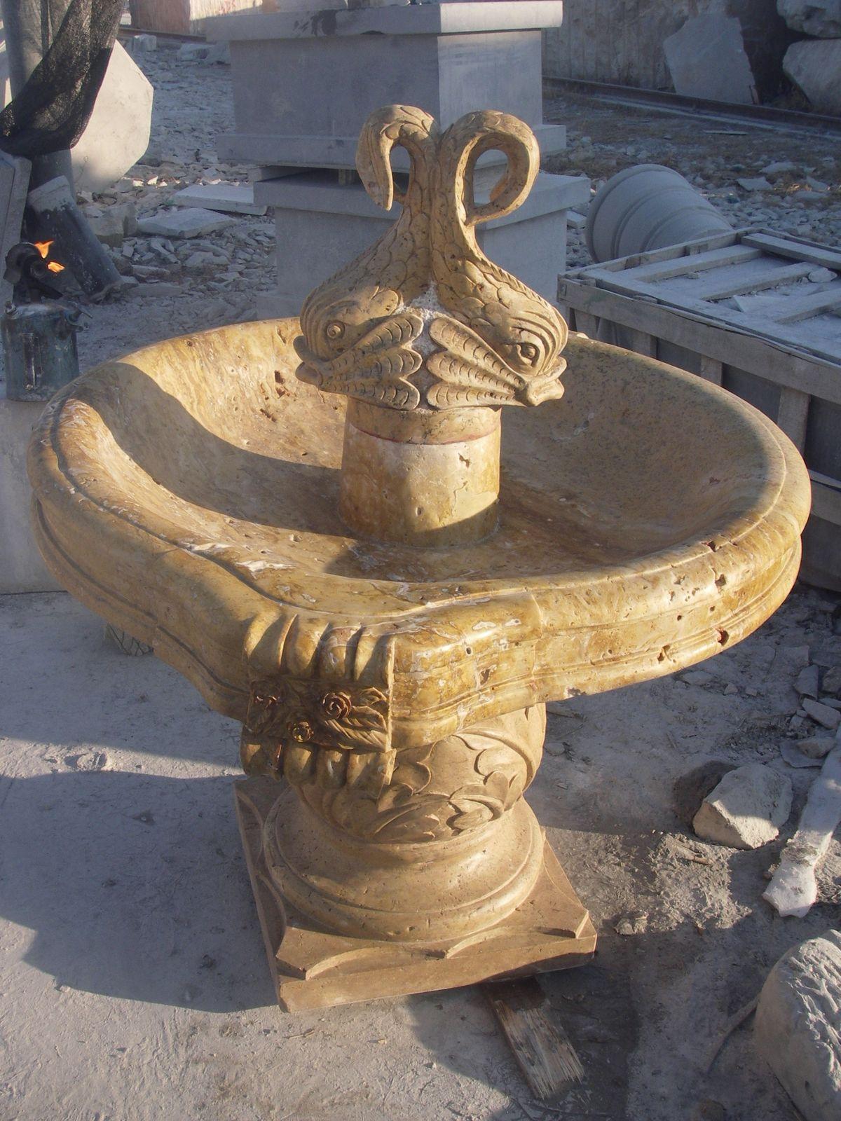 Dark Travertine Stone Fountain