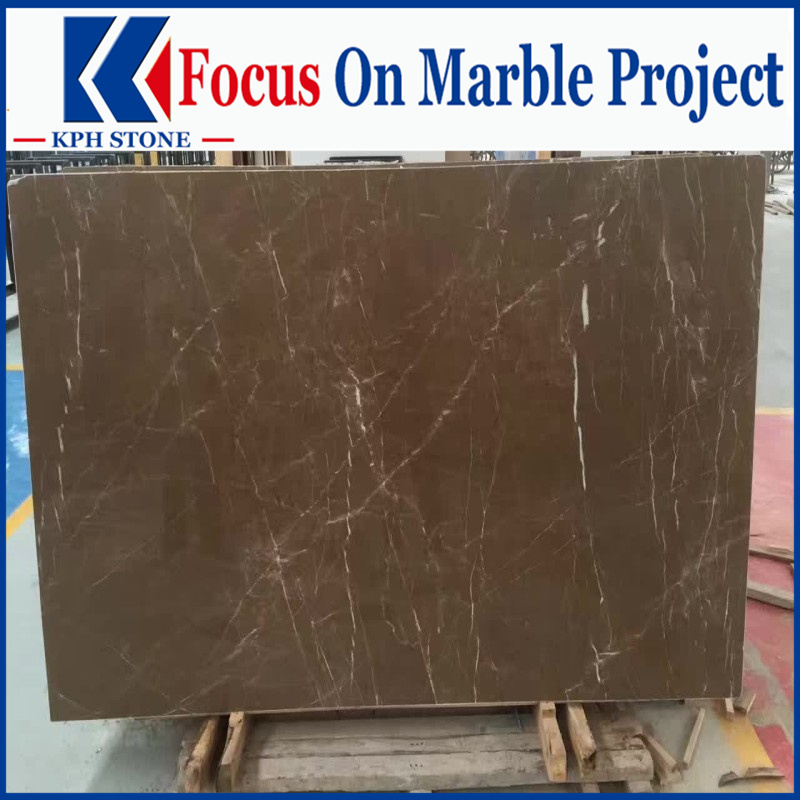 Cazeau Coffee Brown Marble slabs design for living room