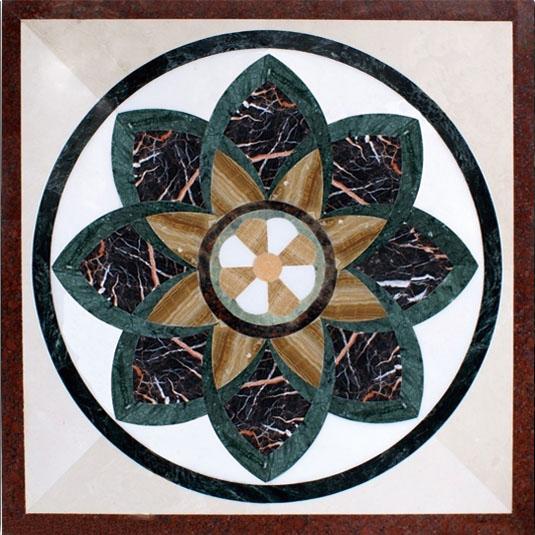 Multicolor Marble Waterjet Pattern Tiles