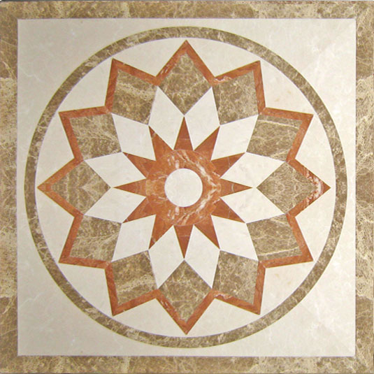 Multicolor Marble Waterjet Pattern Tiles