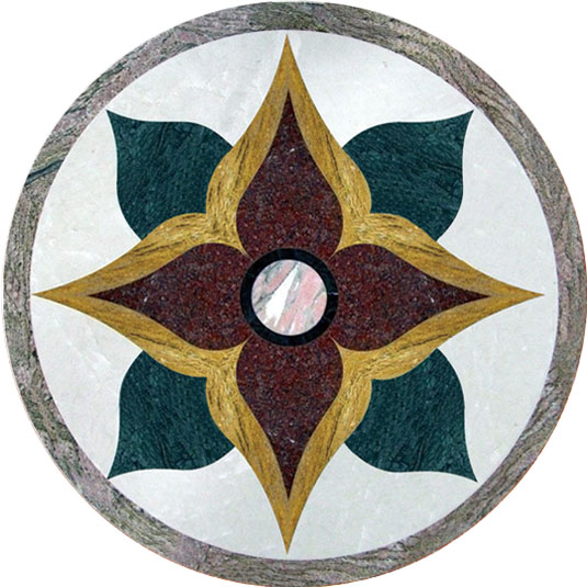Multicolor Marble waterjet medallion