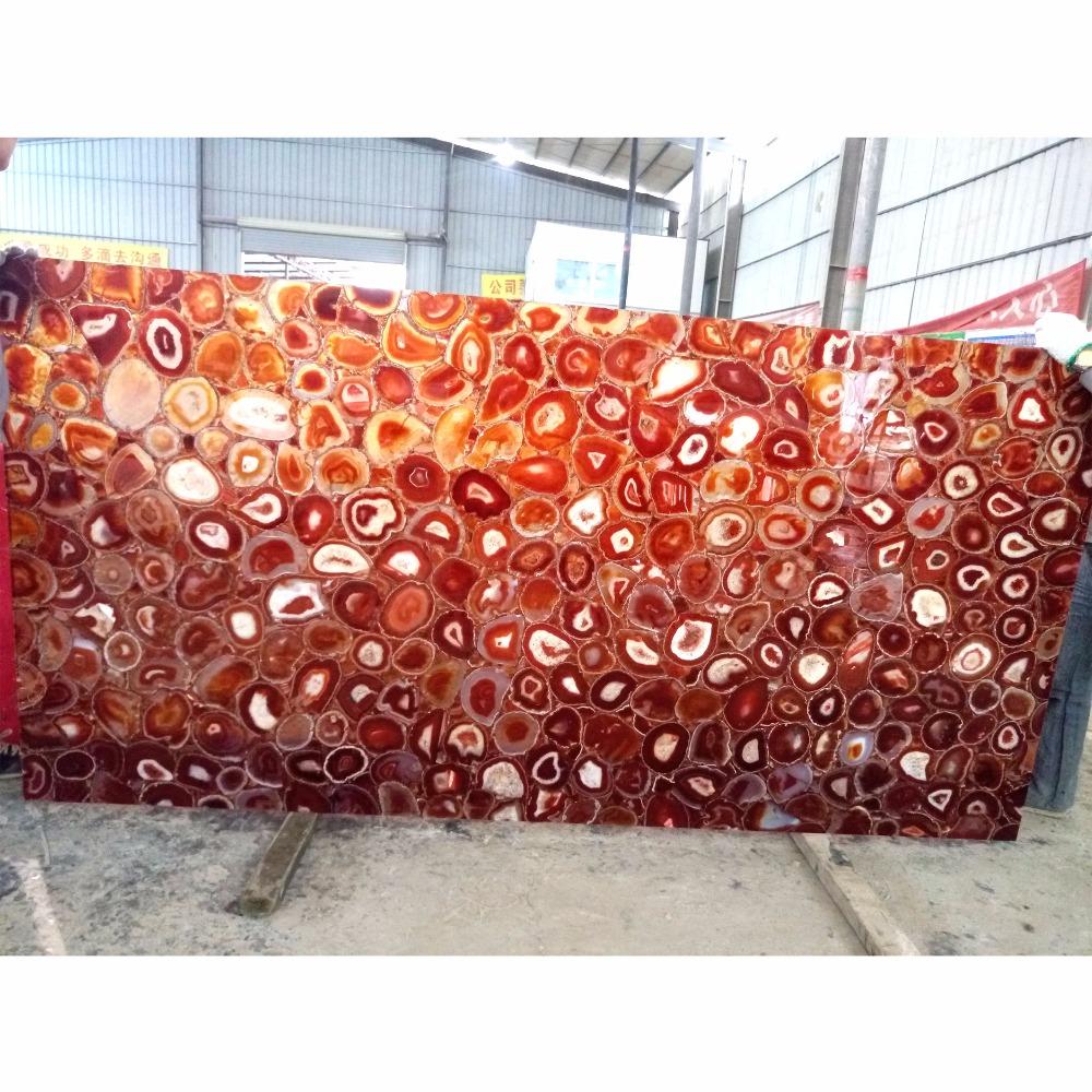 Large Indoor Transparent Red Backlit Agate