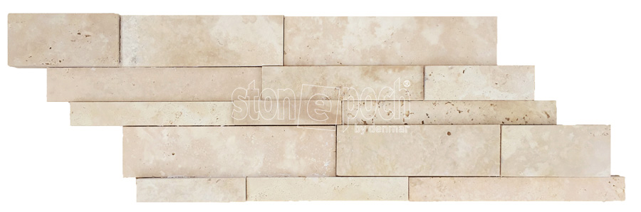 Ledger Cakmak Light Travertine Unfilled & Honed Wall Cladding  Beige Travertine Stone Veneer  Wall Panel Turkey