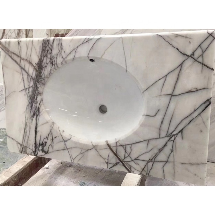 Lilac White Marble Bathroom Vanities With Tops