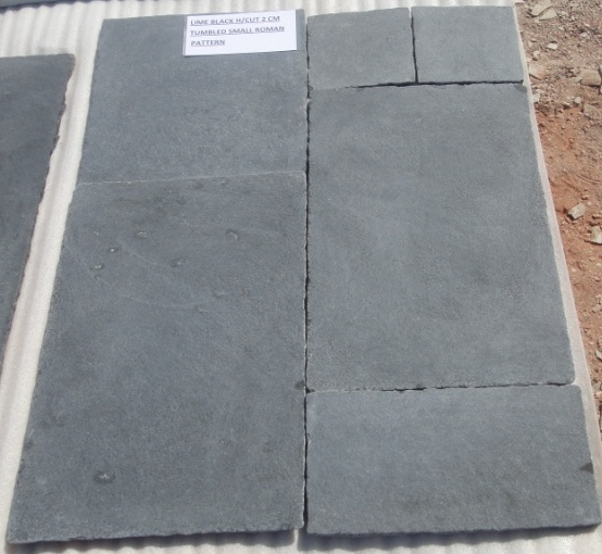 Limestone Black - Natural Tumbled Tiles