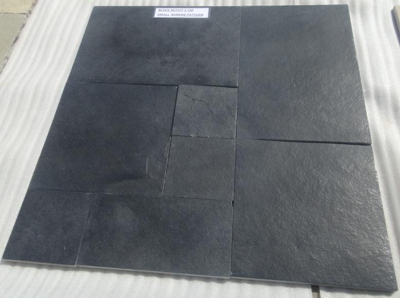 Limestone Black  Natural Machine cut Brushed Tiles
