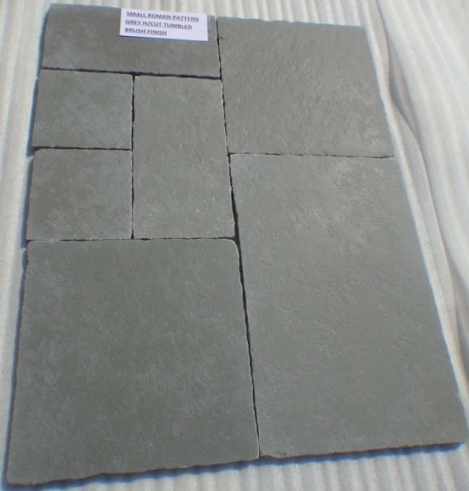 Lime Grey - Natural Hand cut Tumbled Brushed Tiles