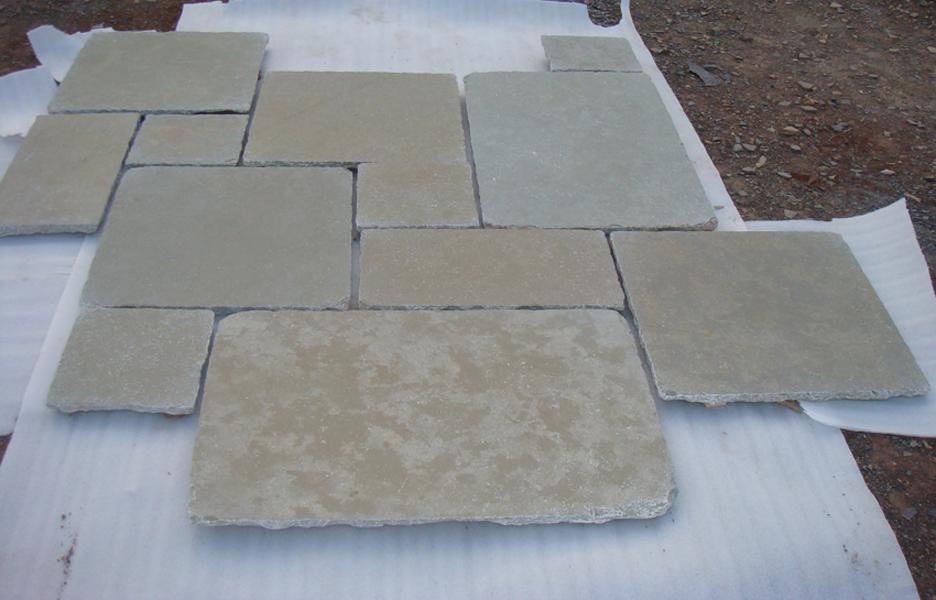 Limestone Yellow -  Natural Half Honed Tumbled Grand Opus PatternTiles