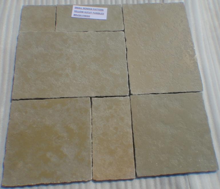 Limestone Yellow - Natural Handcut Tumbled Brushed Tiles