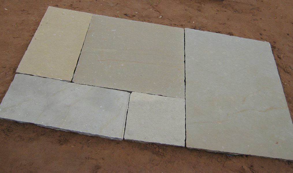 Limestone Yellow Natural Surface hand cut Tiles