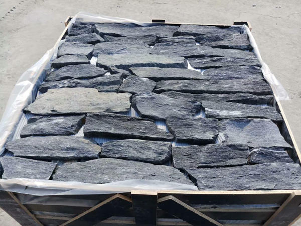 Natural loose black quartz wall stone slabs