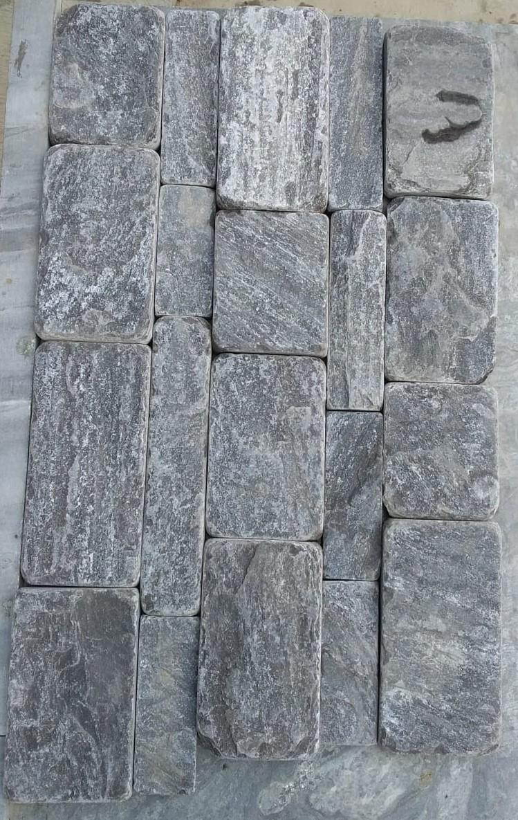 M Black - Natural Tumbled Tiles