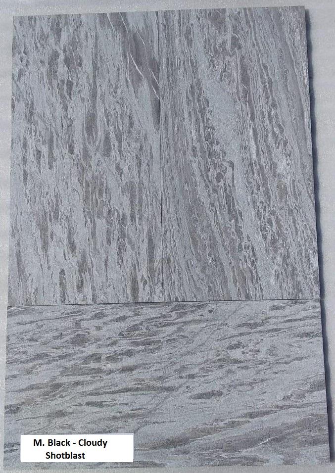 M. Black Cloudy - ShotBlast - 600x300 mm Tiles