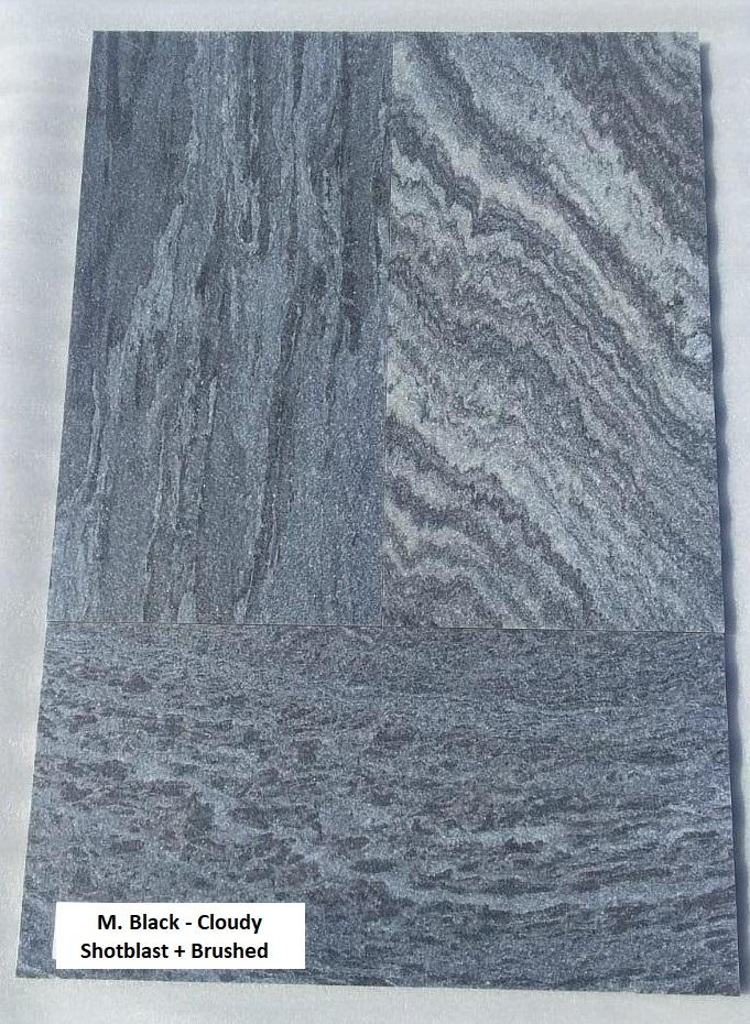 M. Black Cloudy - Shot Blast Brushed Tiles