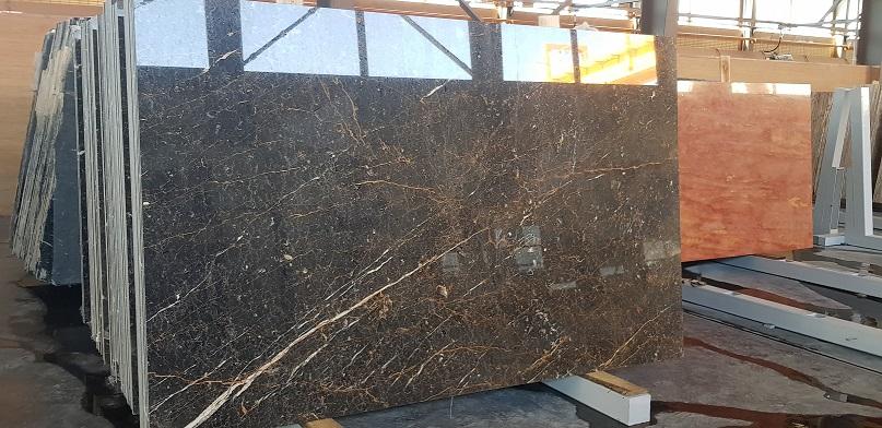 Golden Black Polished Marble Slabs