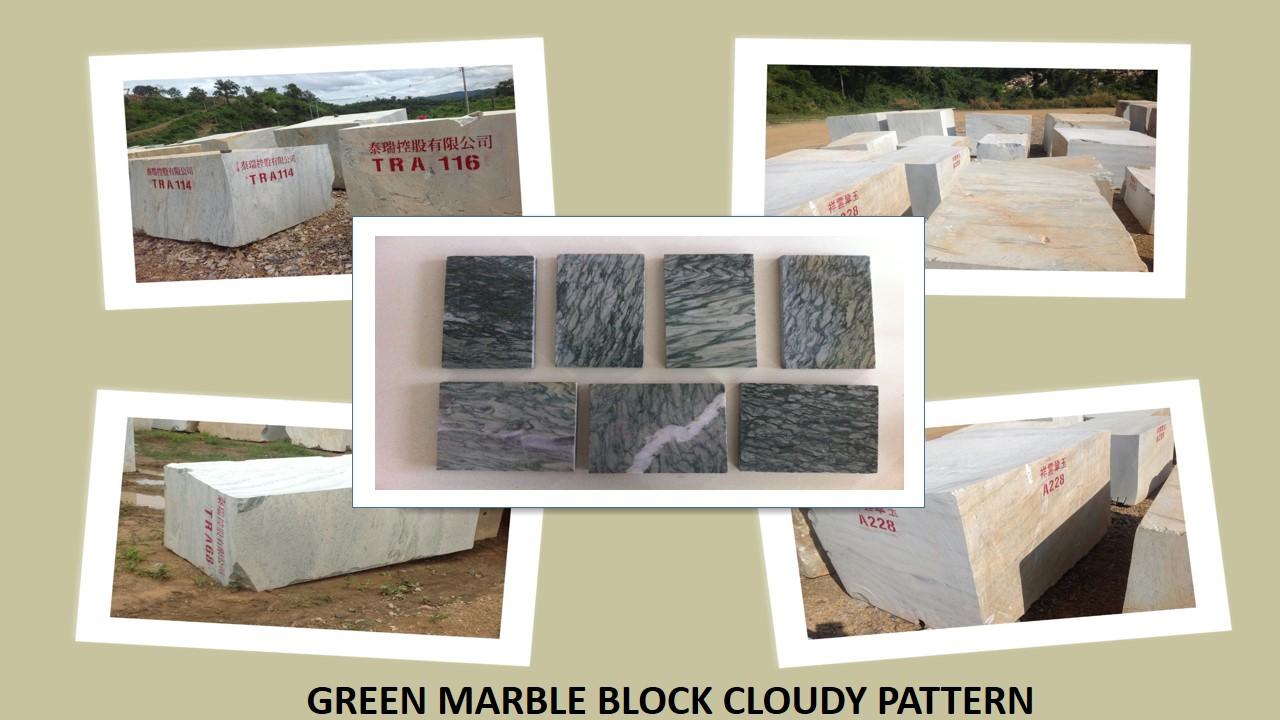Green Marble Block Cloudy Pattern