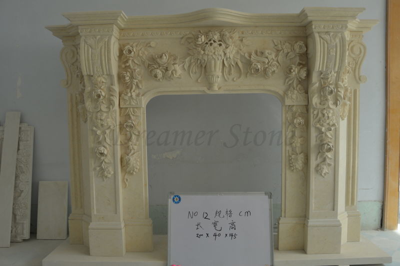 Beautiful beige hand carved stone marble fireplace