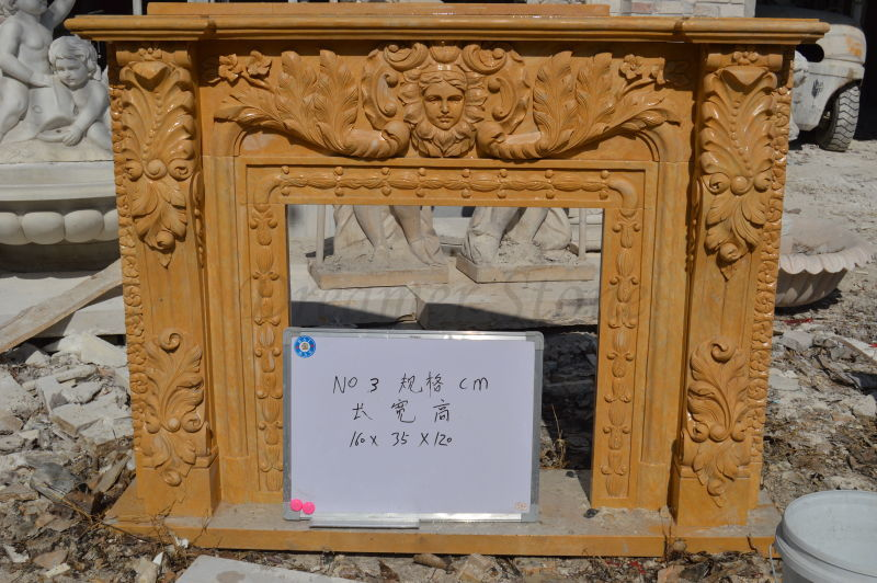 Europe hand carved egypt yellow stone fireplace statues
