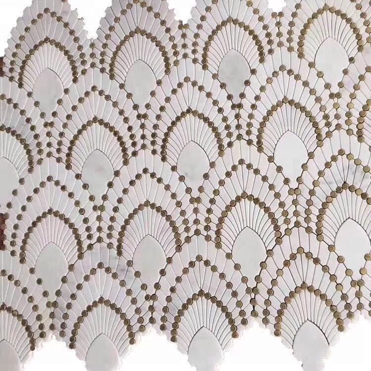 Waterjet White Marble Mosaic Marble Mosaic Pattern Tiles
