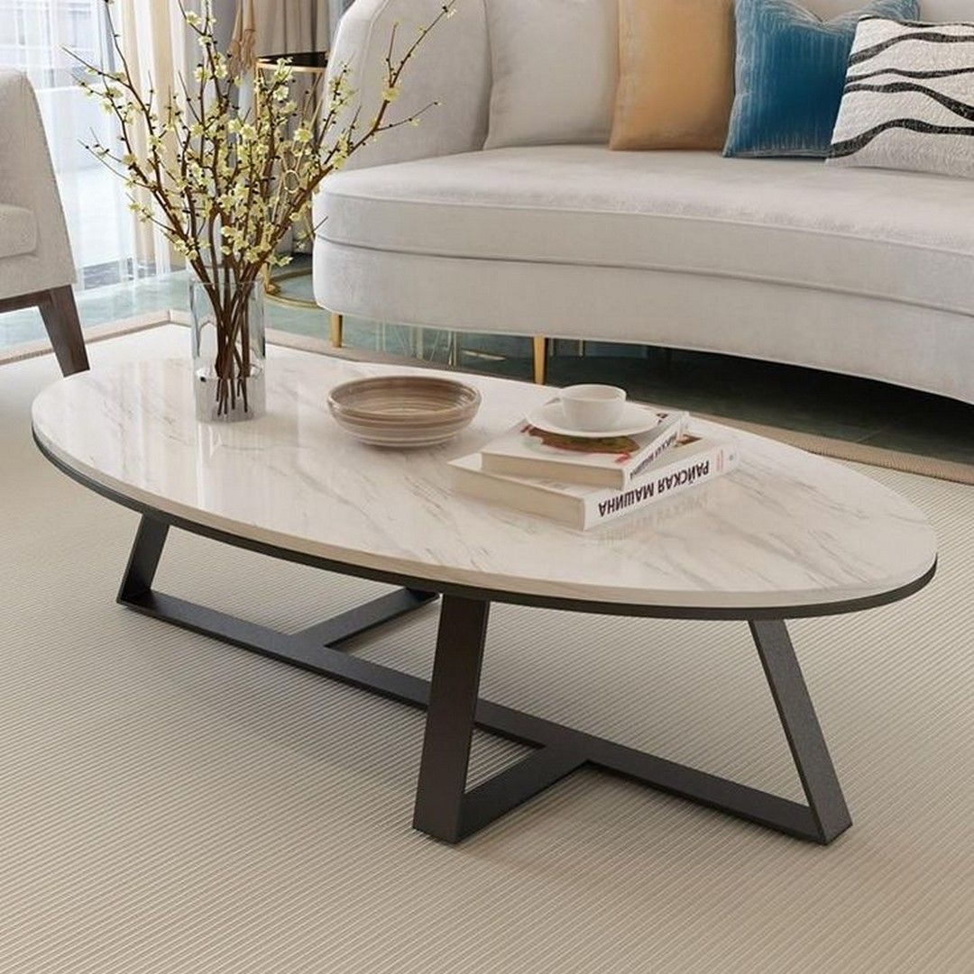Oval White Marble Tabletop