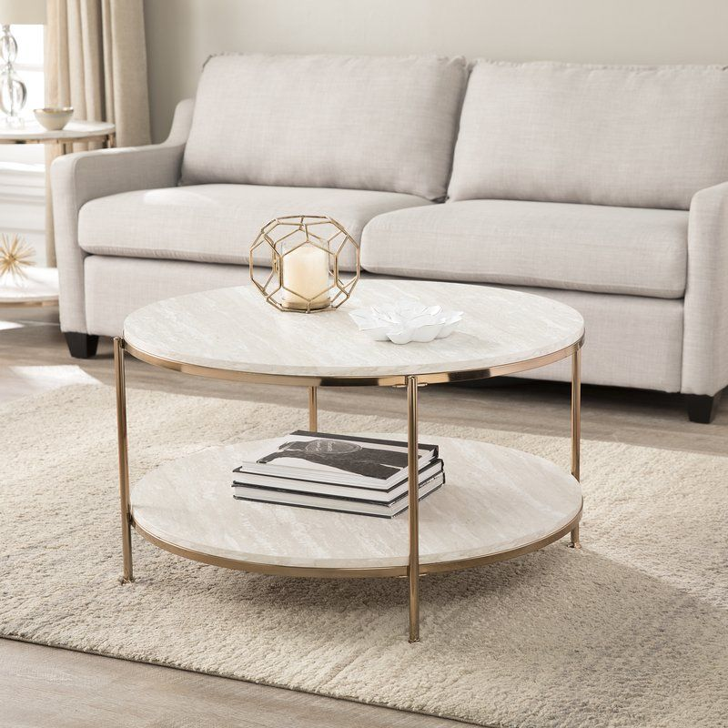 White Marble Stone Top Coffee Table