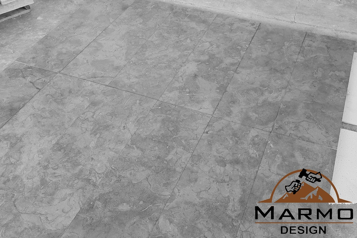 Melly Grey Fossils Brushed Marble Tiles