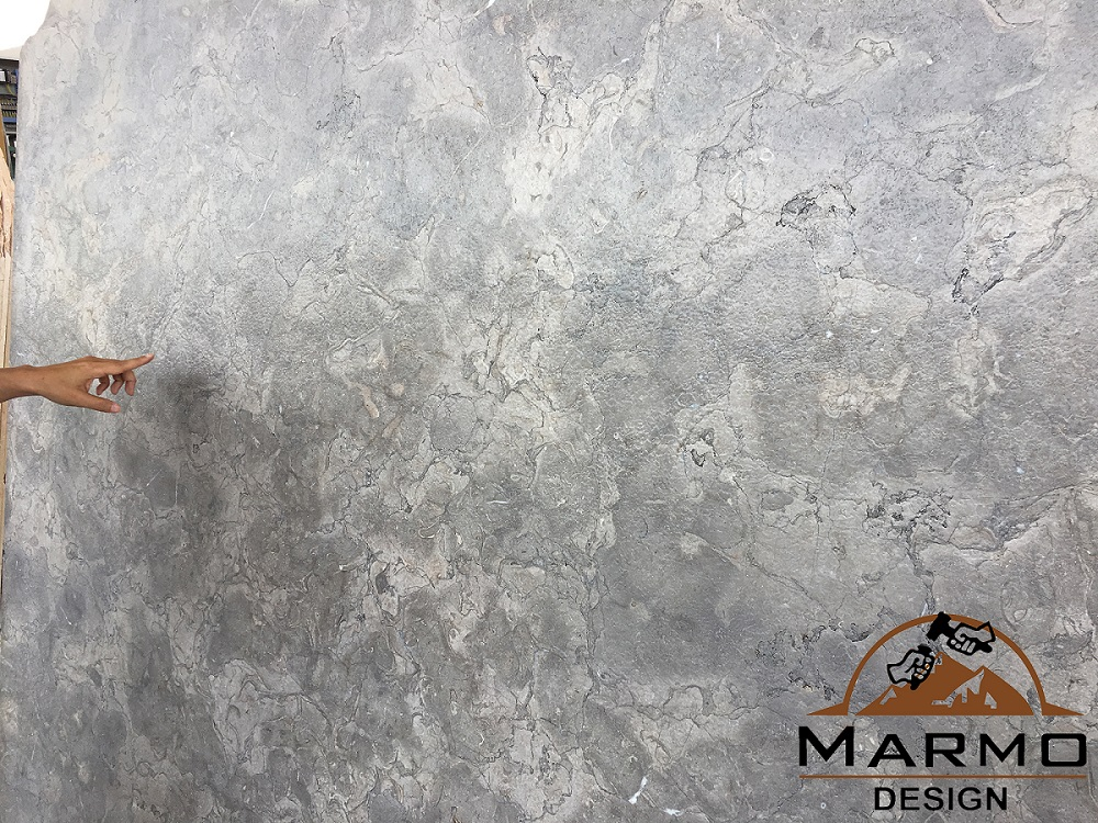 Melly Grey Fossils Brushed Marble Slabs