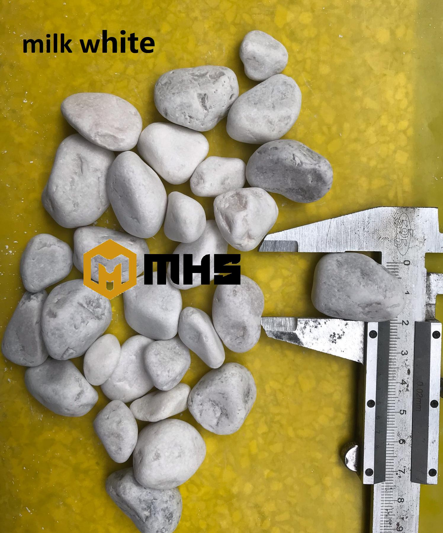 Milky white pebble stone  tumbled pebble Vietnam