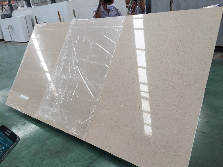 Beige color quartz slabs with mirror