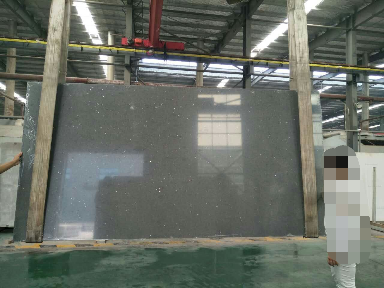 Crystal grey artificial quartz stone slabs