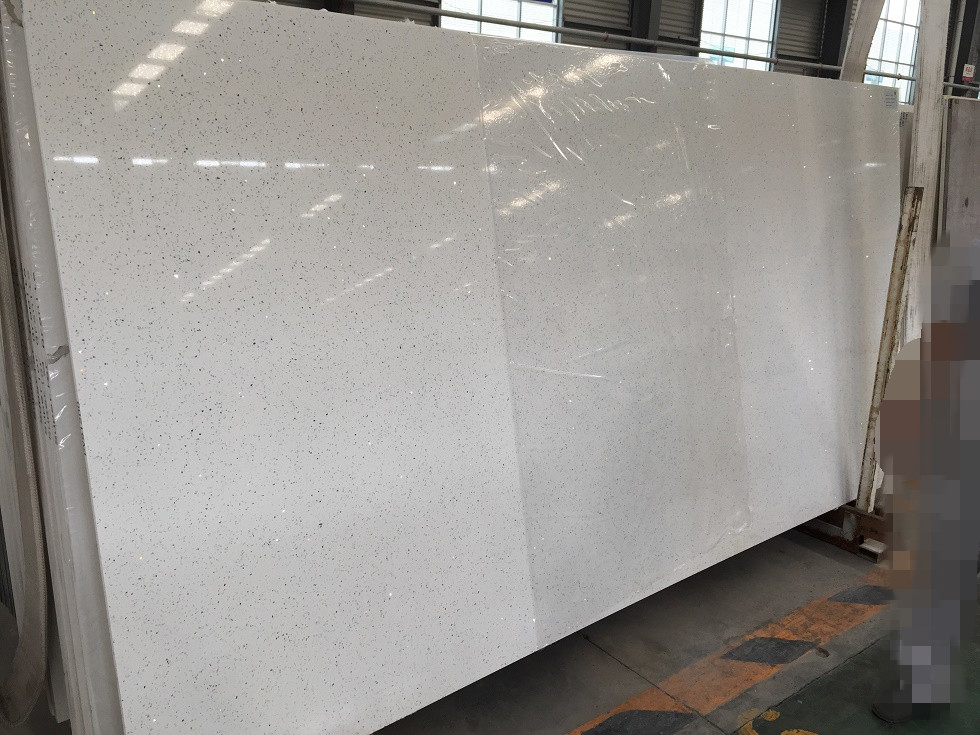 Diamond white artificial quartz slabs