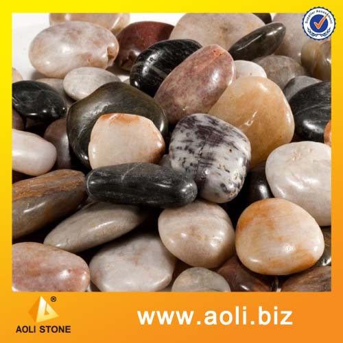 Mixed color pebble cobble and pebble type natural stone