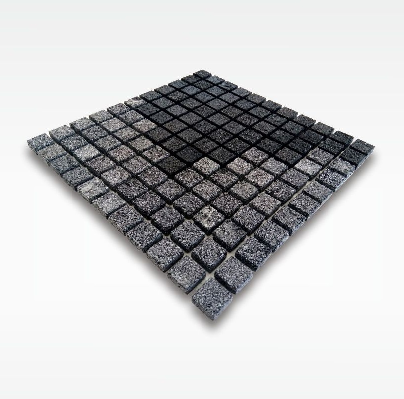 Bali Black Lavastone Mosaic Tile - 2 5x2 5cm - Wet