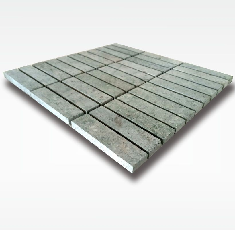 Mosaic Tiles Sukabumi Green Stone - Quartzite - 2 5x10cm - Dry