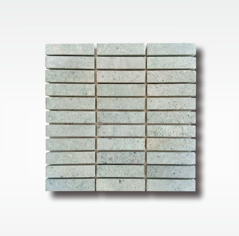 Sukabumi Green Stone Mosaic Tiles - Quartzite - 2 5x10cm - Dry