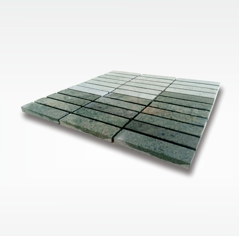 Mosaic Green Sukabumi Stone for Swimming Pool - Quartzite - 2 5x10cm - Wet
