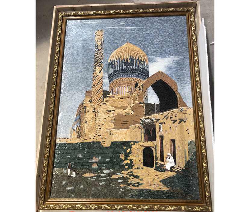 Wall Handmad Mosaic Artwork, Marble Mosaic portrait for decoration