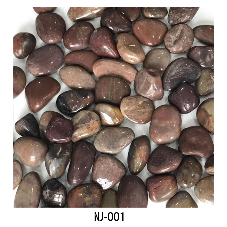 Polished mixed color river stone NJ-002