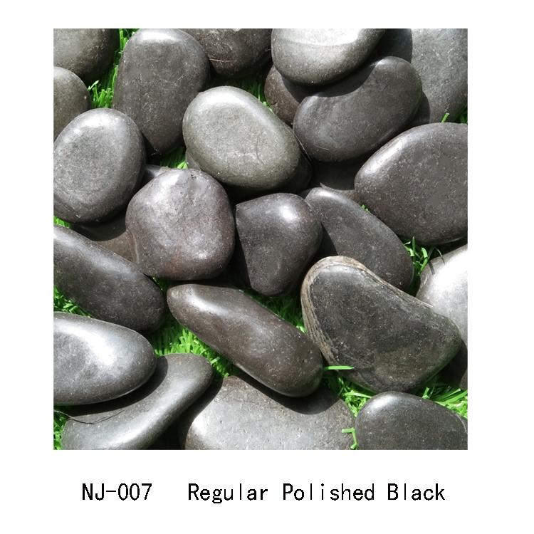 regular polished black river pebble stone NJ-007