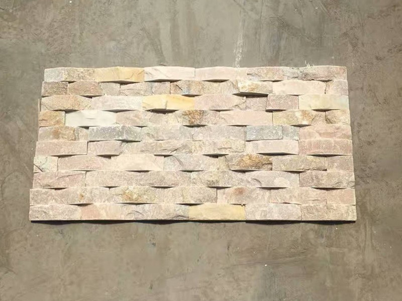 Natural yellow slate exterior weave stone veneer