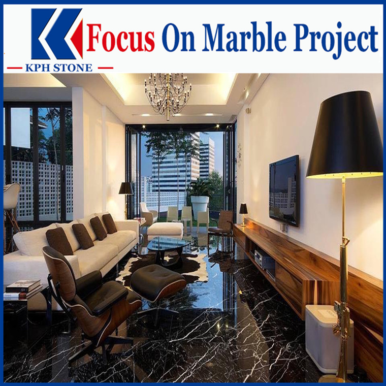black marquina marble project design for hotels