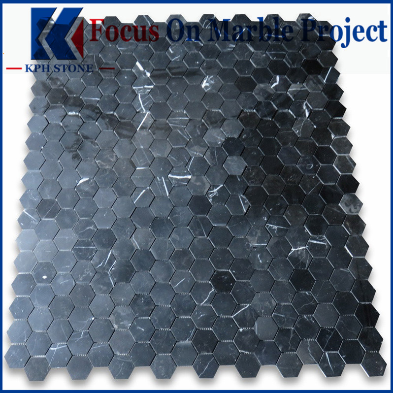 Nero Marquina Black Marble Hexagon Mosaic Tile 2 inch Polished
