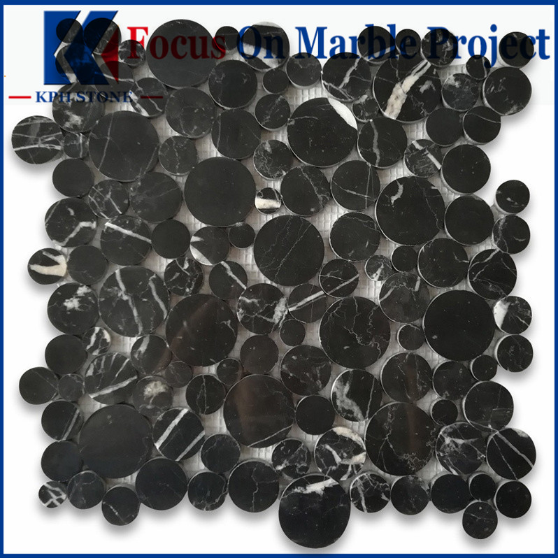 Nero Marquina Black Marble Bubble Round Mosaic Tile Polished