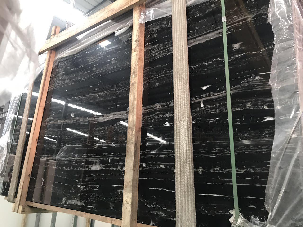 nero portoro silver marble slabs