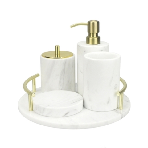 Jazz White Marble Bathroom Set